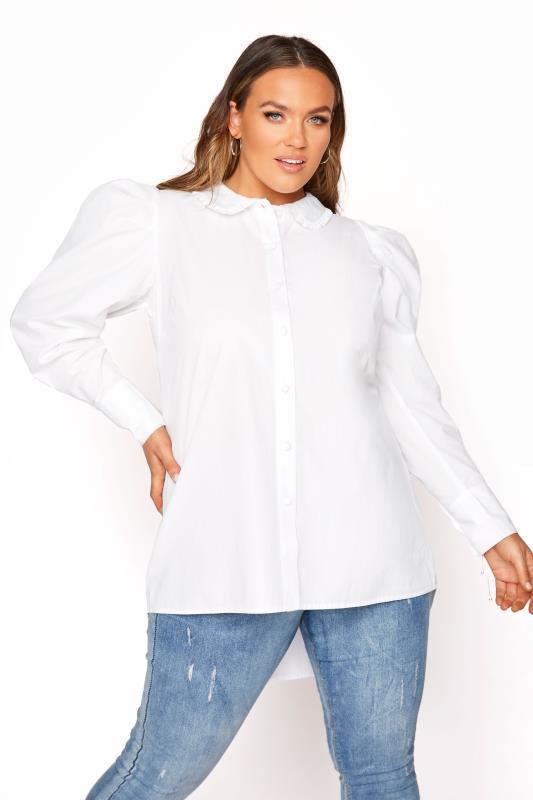 Plus Size  YOURS LONDON White Cotton Ruffle Collar Shirt