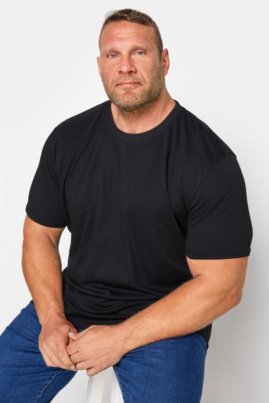 T-Shirts Grande Taille KAM Black Plain T-Shirt