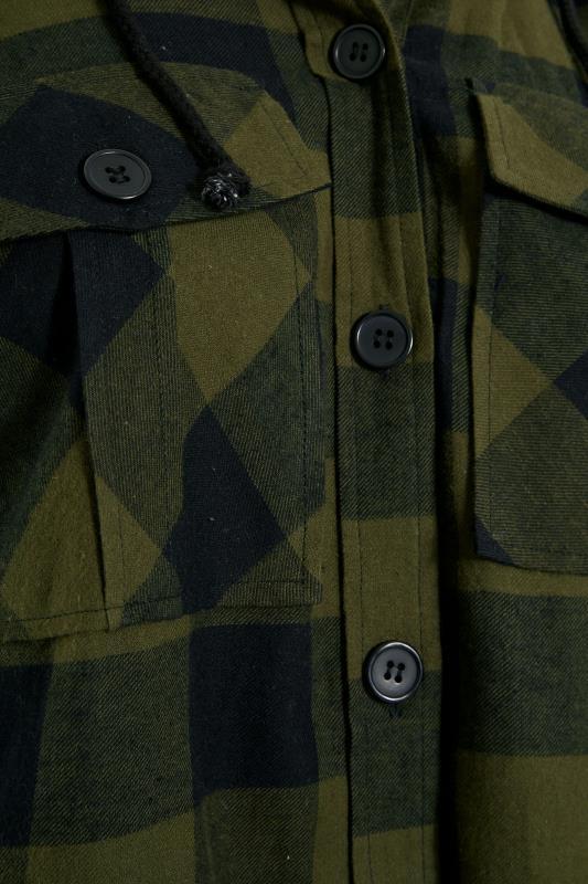 Khaki Checked Hooded Longline Shirt_S.jpg