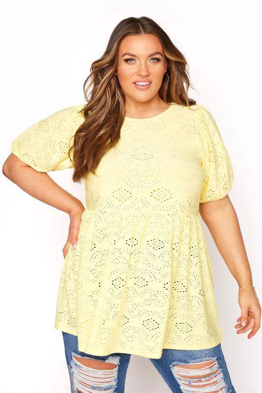 Plus Size  Lemon Yellow Broderie Anglaise Peplum Top