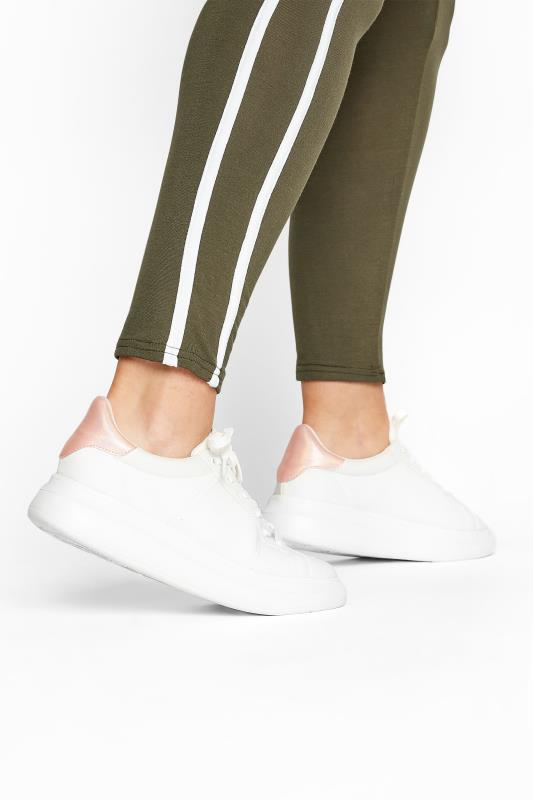 LIMITED COLLECTION White & Pink Vegan Leather Platform Trainers In Wide Fit