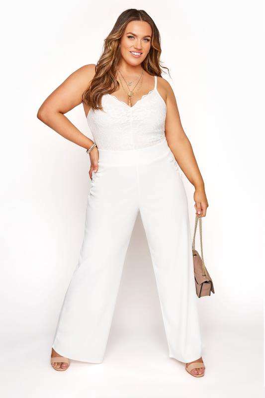 Plus Size  YOURS LONDON White Button Scuba Crepe Wide Leg Trousers