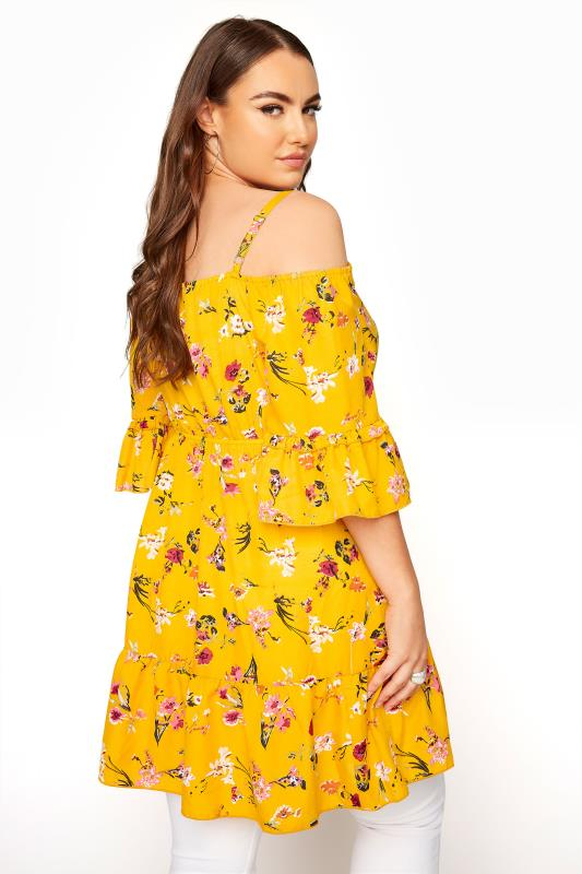 Yellow Floral Cold Shoulder Frill Top_C.jpg