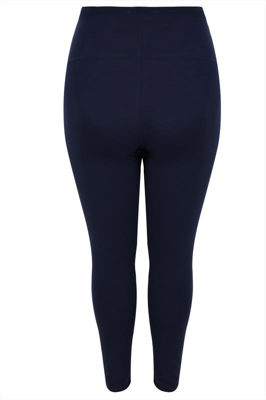 BUMP IT UP MATERNITY Navy Cotton Essential Leggings With Comfort Panel