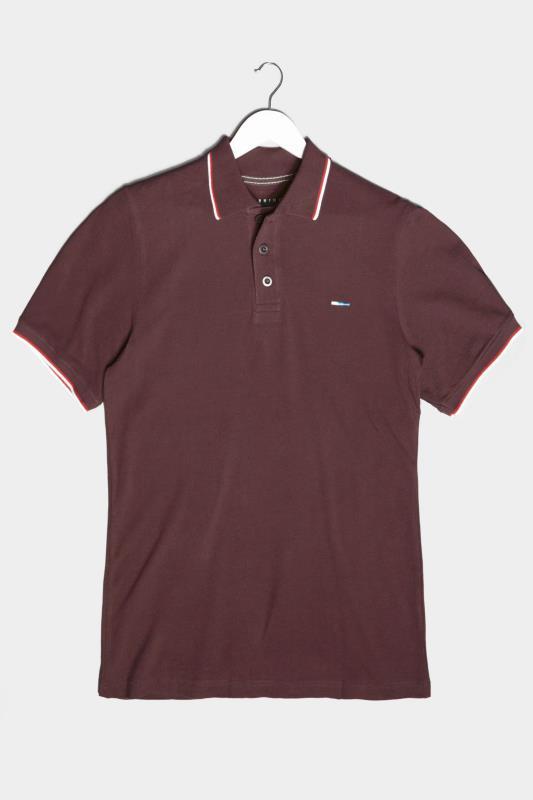 Tallas Grandes BadRhino Burgundy Essential Tipped Polo Shirt