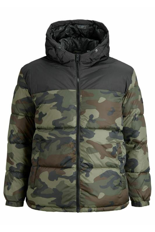 Coats dla puszystych JACK & JONES Khaki Camo Colour Block Drew Puffer Coat