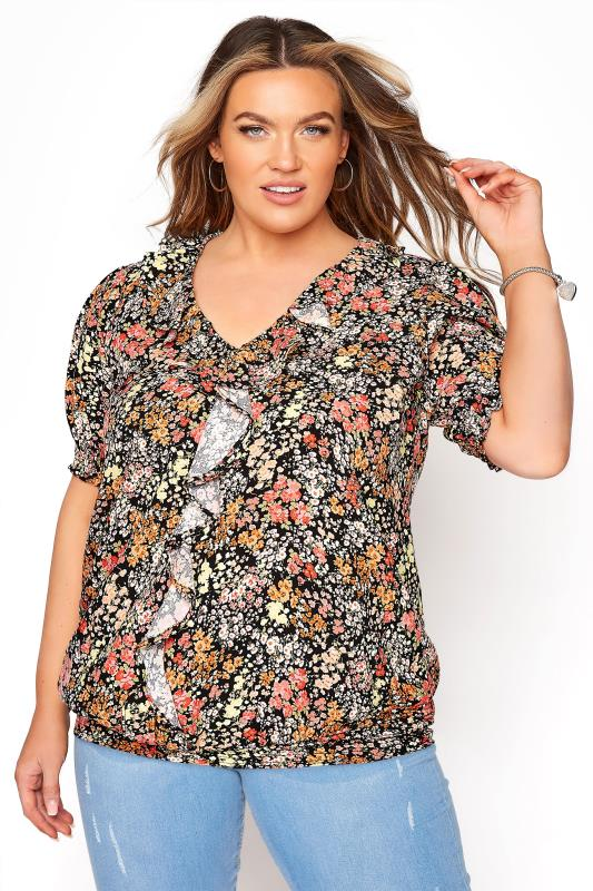 Plus Size  YOURS LONDON Black Floral Shirred Frill Top