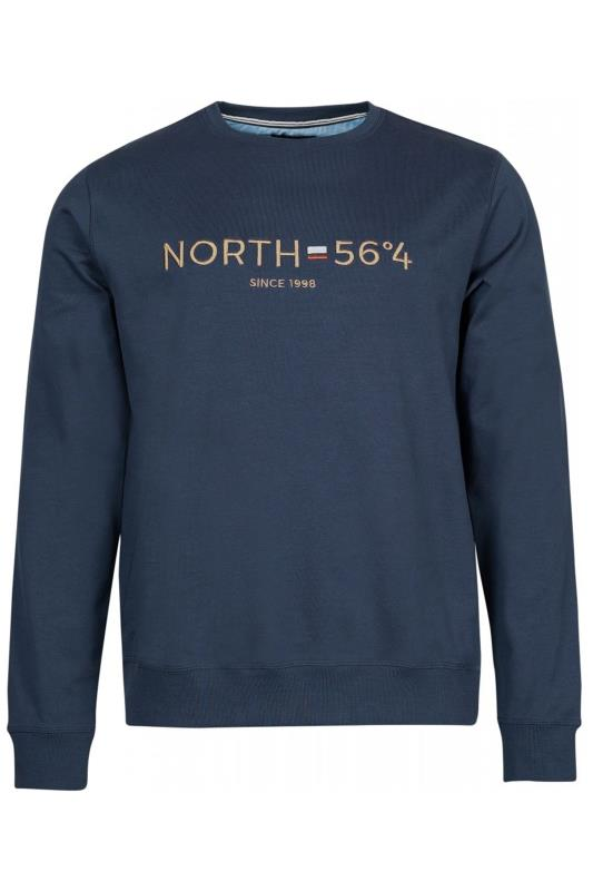 Men's Casual / Every Day NORTH 56°4 Navy Embroidered Sweatshirt