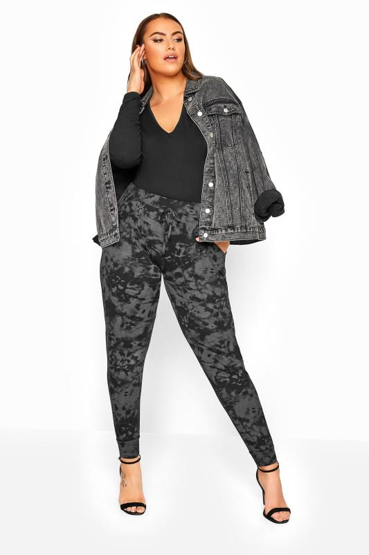 Plus Size Harem Trousers Grey Tie Dye Jersey Drawcord Harem Trousers