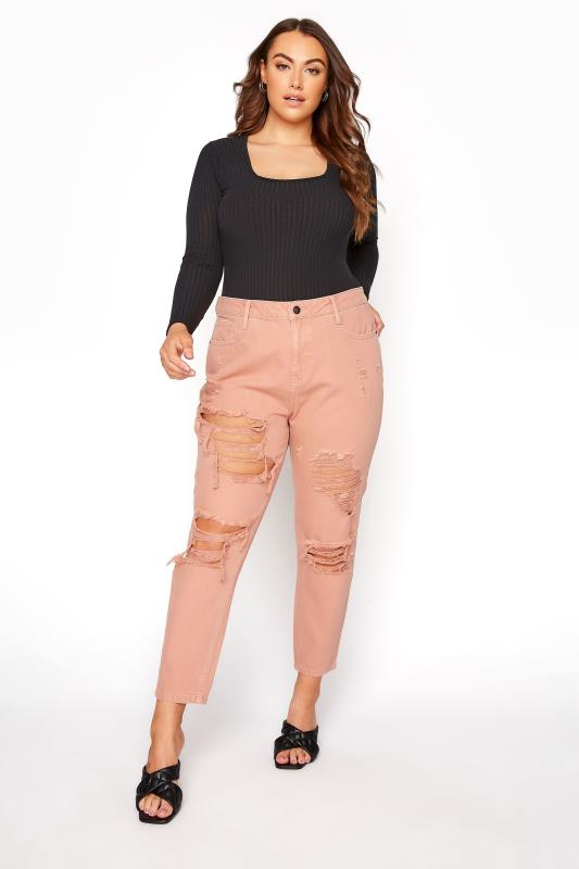 Blush Pink Extreme Distressed MOM Jeans_C.jpg