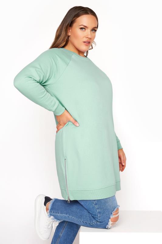 Super Soft Hand Feel Green Side Zip Sweatshirt_A.jpg