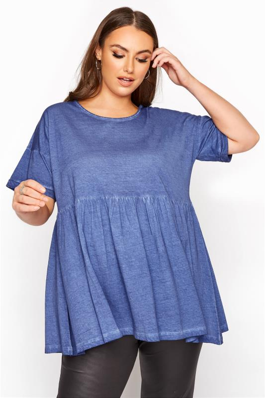 Plus Size  Blue Acid Wash Drop Shoulder Peplum Tunic