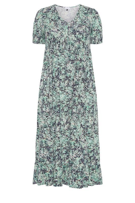 YOURS LONDON Green Floral V-Neck Frill Hem Dress_f.jpg