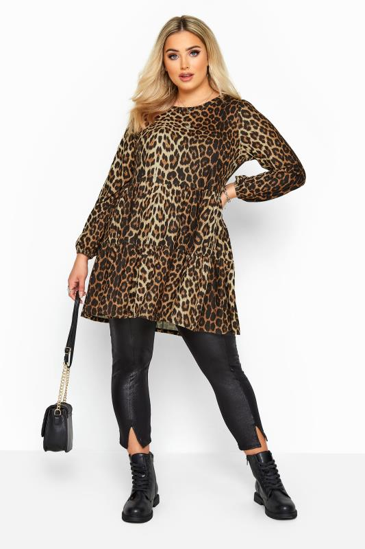 Brown Animal Print Tiered Smock Tunic in Soft Touch