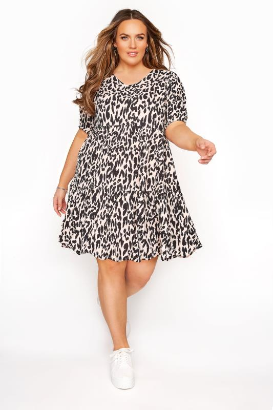 Plus Size  Pink Animal Print Tiered Dress