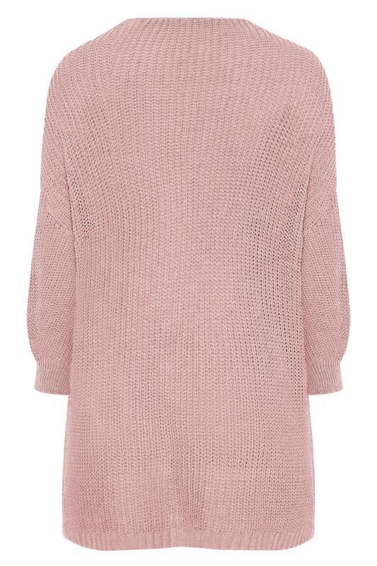 Pink Balloon Sleeve Loose Knit Cardigan_BK.jpg
