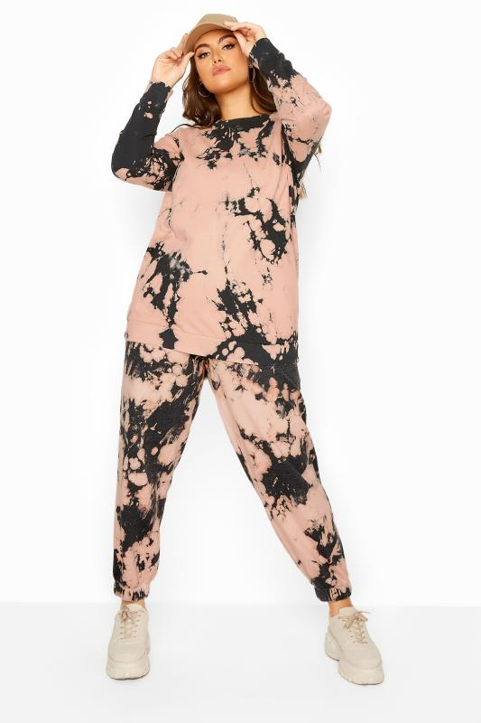 Plus Size  Pink Tie Dye Co-ord Joggers