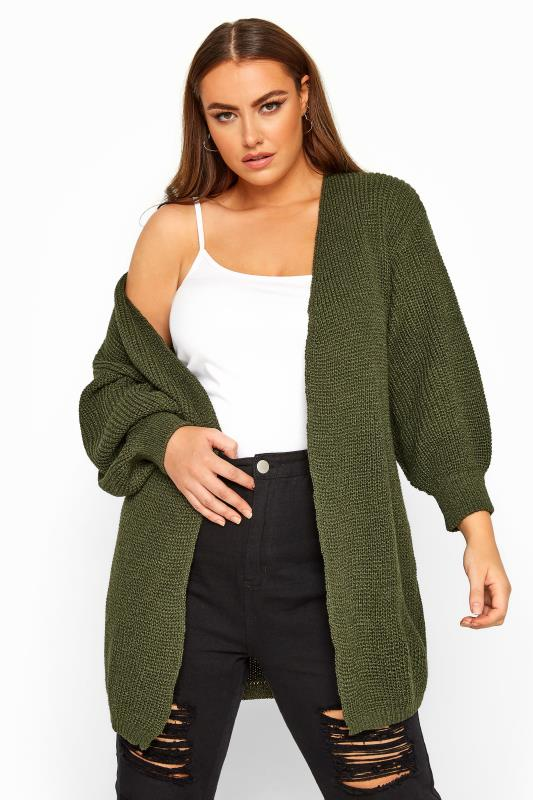 Plus Size Gifts Khaki Oversized Balloon Sleeve Knitted Cardigan