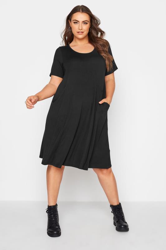 Grande Taille Black Drape Pocket Midi Dress