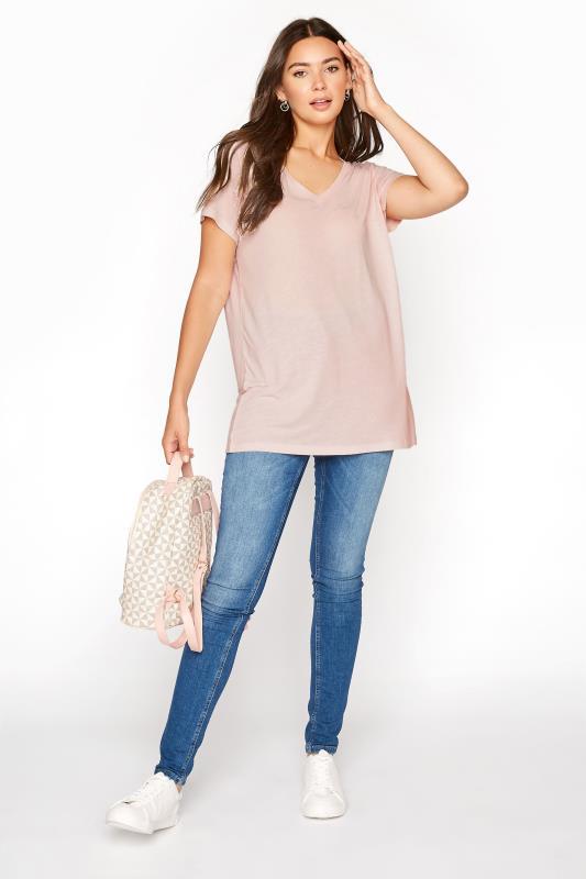 LTS Pink Linen Blend V-Neck T-Shirt_B.jpg