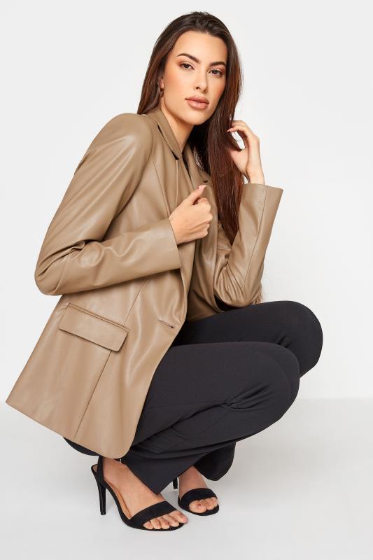 Tall  LTS Beige Faux Leather Blazer