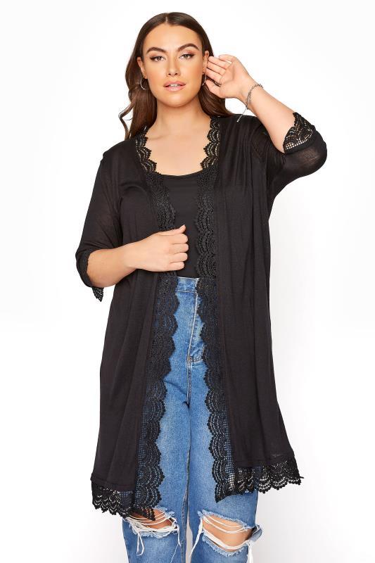 Black Lace Trim Cardigan