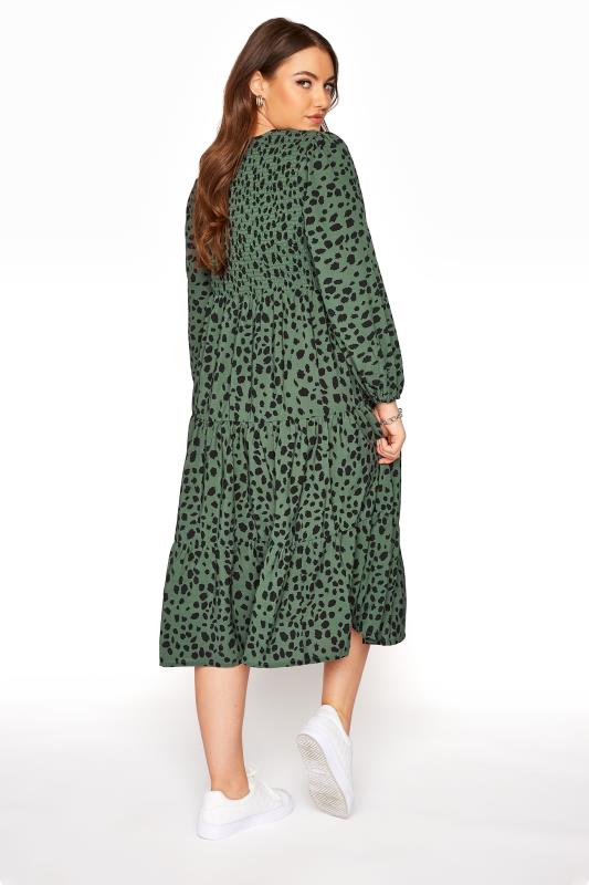 Green Dalmatian Print Shirred Smock Midi Dress_C.jpg
