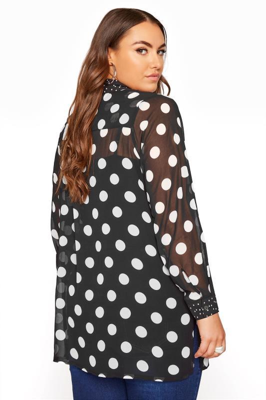 YOURS LONDON Black Polka Dot Boyfriend Shirt_C.jpg