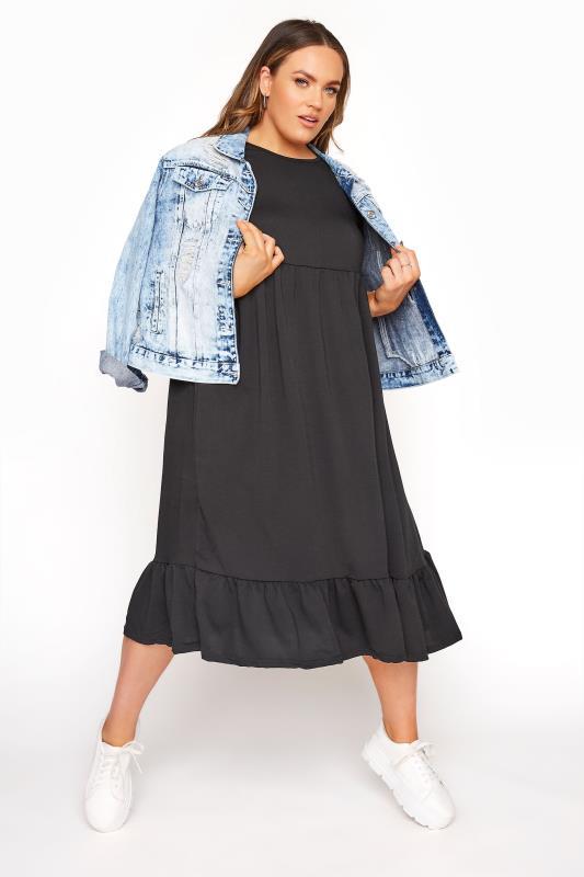 LIMITED COLLECTION Black Midi Smock Dress