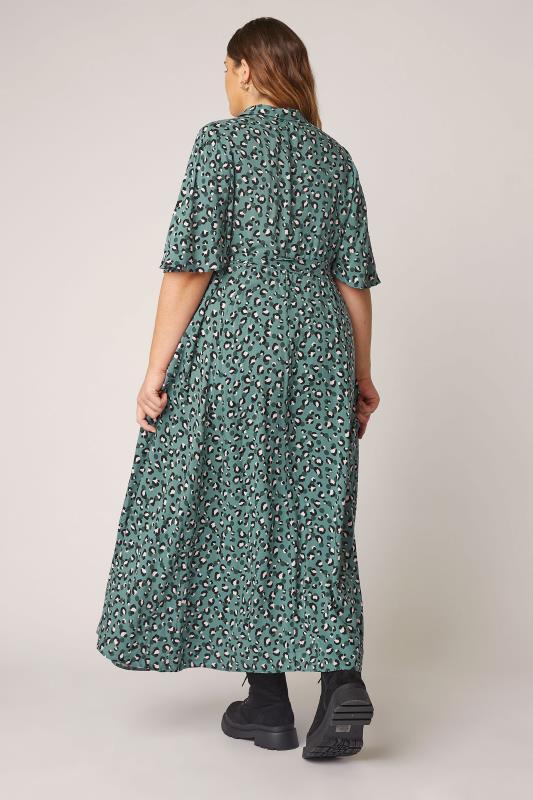 THE LIMITED EDIT Teal Leopard Print Shirt Maxi Dress_C.jpg