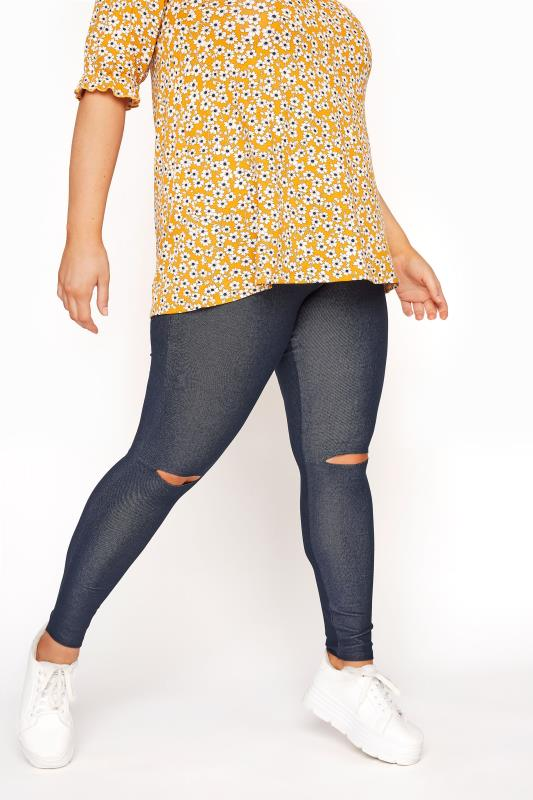Grande Taille Blue Ripped Knee Jegging