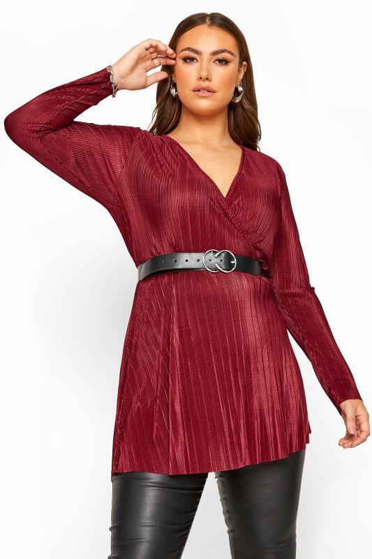 Plus Size Party Tops YOURS LONDON Wine Red Plisse Wrap Top