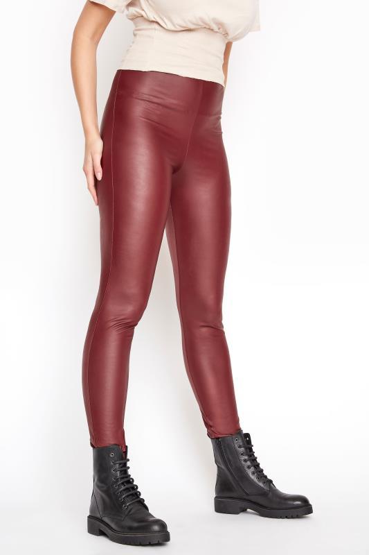 LTS Burgundy Leather Look Leggings
