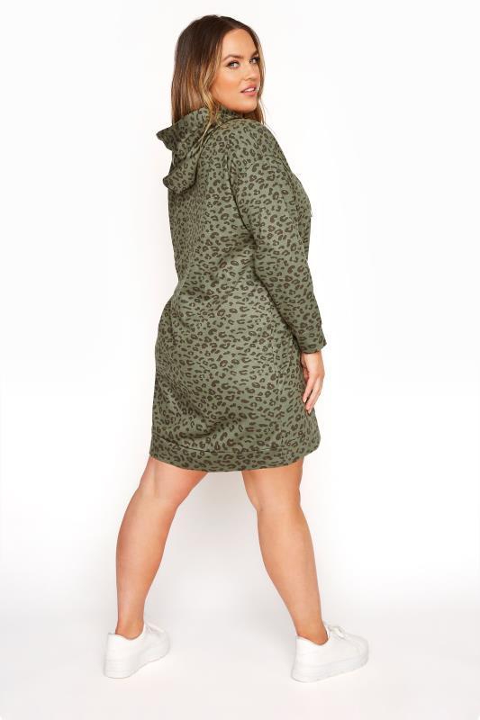 Plus Size  Green Leopard Pocket Hoodie