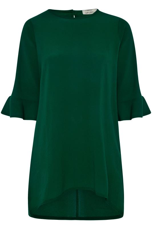 YOURS LONDON Forest Green Flute Sleeve Blouse_F.jpg