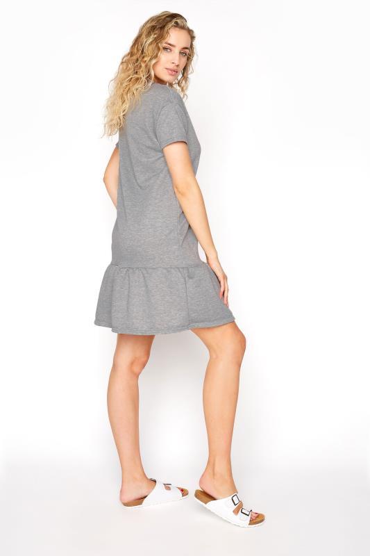 LTS Light Grey Marl Jersey Sweat Frill Hem Dress_C.jpg