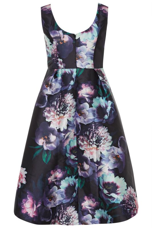 CHI CHI Black Floral High Low Dress
