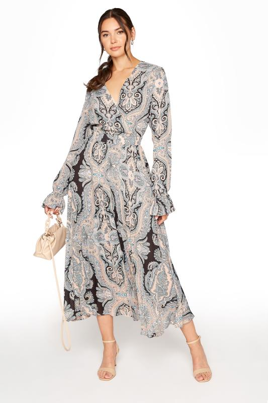 LTS Natural Paisley Print Long Sleeve Pleat Dress_B.jpg
