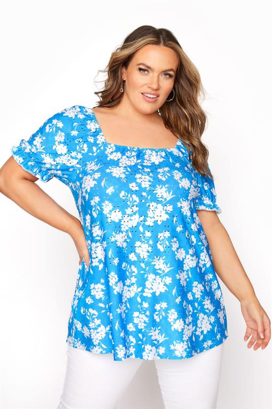 LIMITED COLLECTION Blue Floral Broderie Anglaise Top