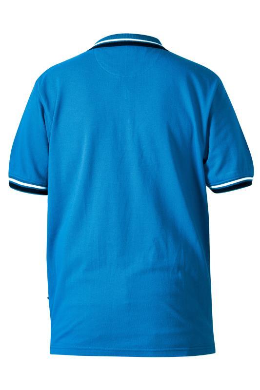 D555 Blue Pique Double Tipped Polo Shirt