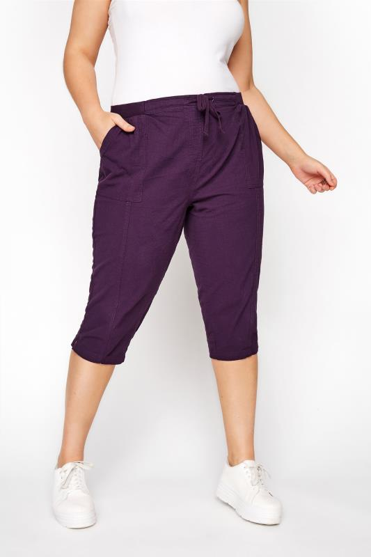 Purple Cool Cotton Cropped Trousers