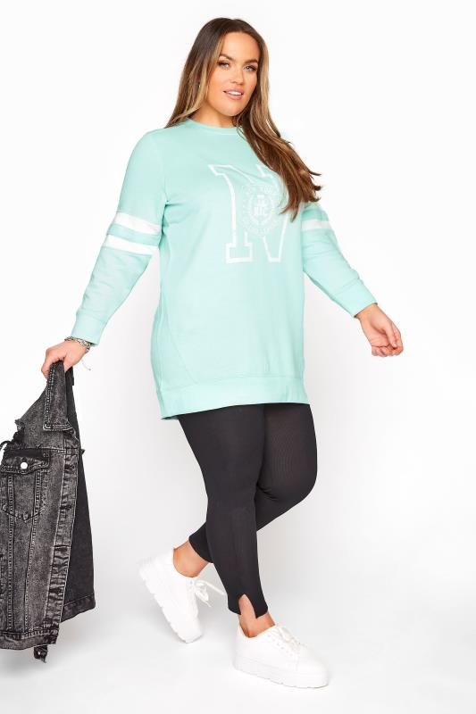 Turquoise Blue Varsity Stripe New York Sweatshirt