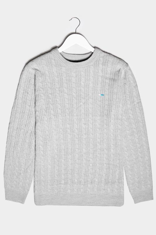 Men's  BadRhino Light Grey Essential Cable Knitted Jumper