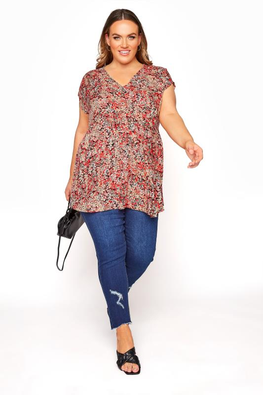 YOURS LONDON Red Ditsy Floral Tunic