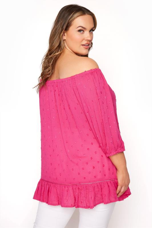 Hot Pink Dobby Bardot Top_C.jpg