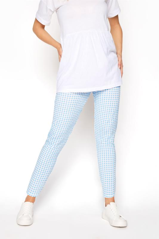 LTS Blue Textured Gingham Trousers