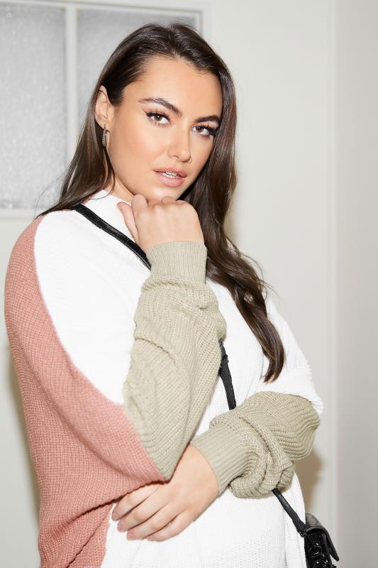 Cream Colour Block Oversized Knitted Jumper_L1.jpg