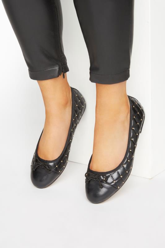 Black Quilted Studded Ballet Pumps In Extra Wide Fit