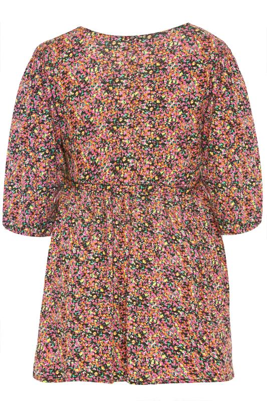 BUMP IT UP MATERNITY Multi Ditsy Print Belted Top_BK.jpg