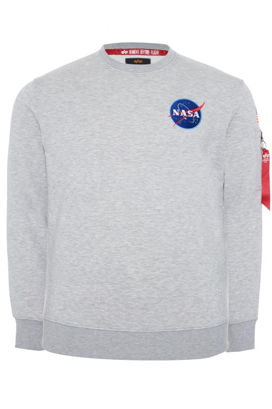 Plus Size Sweatshirts ALPHA INDUSTRIES Grey NASA Space Shuttle Sweatshirt